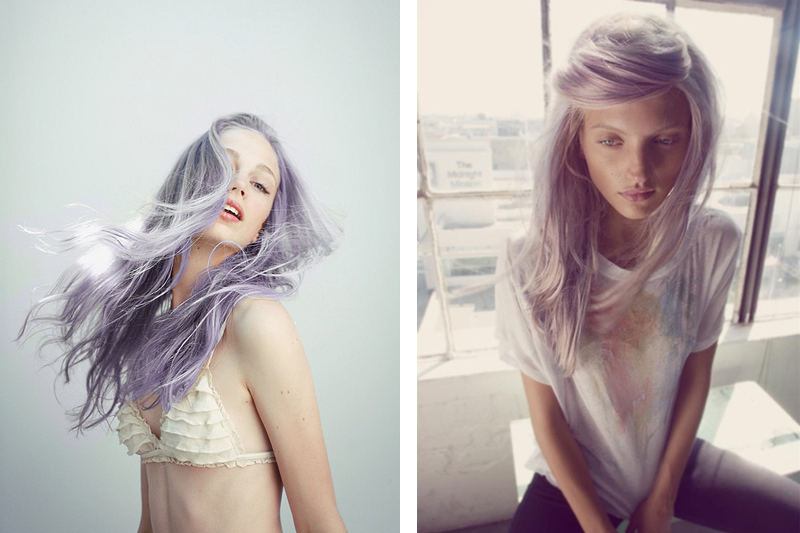 pastel hair, lavender hair