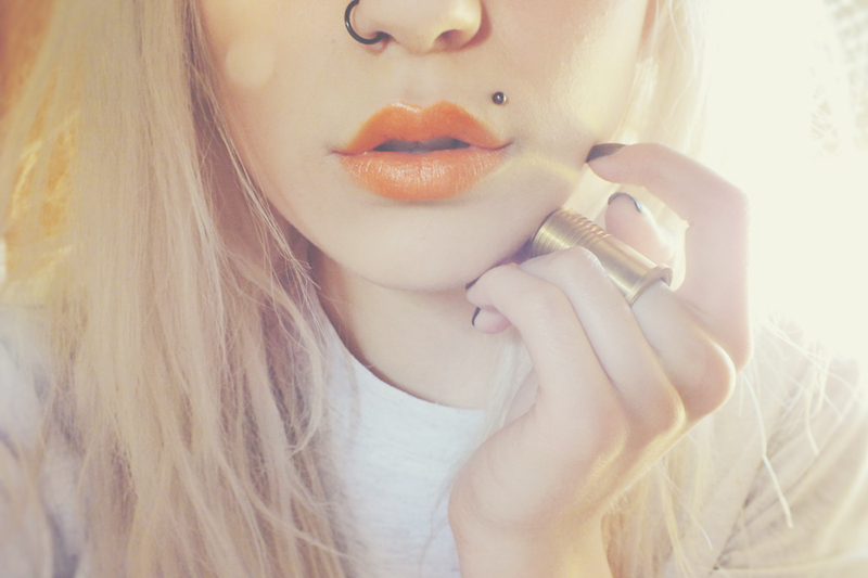 neon lipstick, bright orange lips