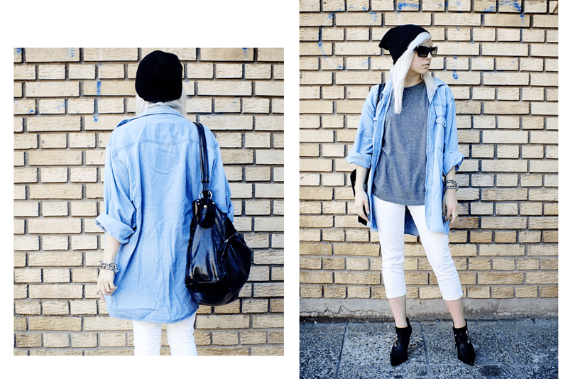 moiminnie, oversized denim shirt, minimal style fashion