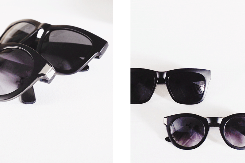 black matte sunglasses, minimal accessories, minimal style fashion