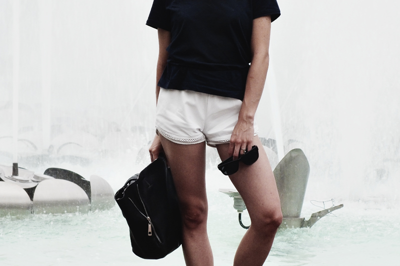 white leather shorts, navy shirt, moiminnie, miliva obradovic, minimal fashion