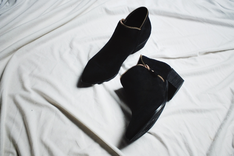 light in the box, black ankle boots, moiminnie, minimal fashion