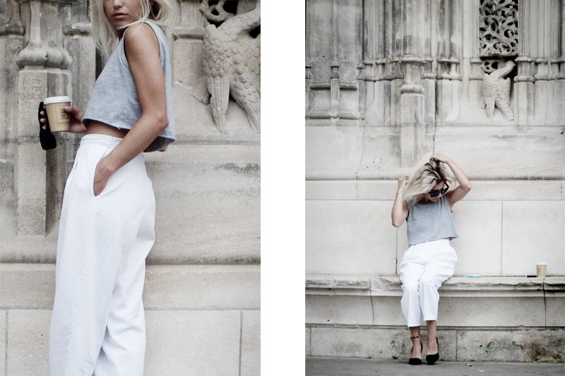 styling crop top, white pants outfit, minimal style, moiminnie, milica obradovic