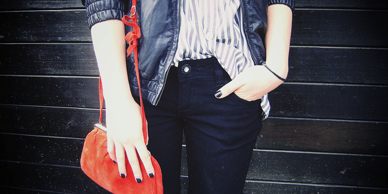 striped shirt, red clutch, casual style